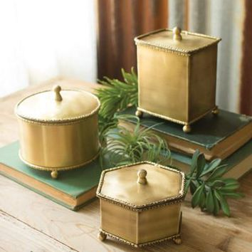 Set Of 3 Brass Boxes