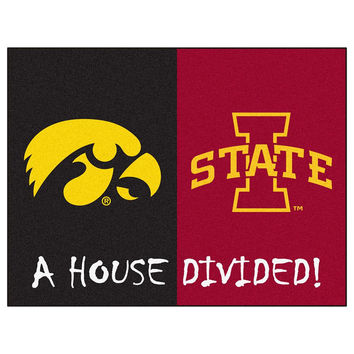 Iowa Hawkeyes - Iowa State Cyclones House Divided NCAA All-Star Floor Mat (34x45)
