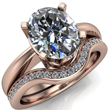 Oreli Oval Moissanite 4 Prong Basket Setting