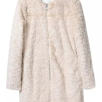 Beige Long-Sleeve Zippered Coat
