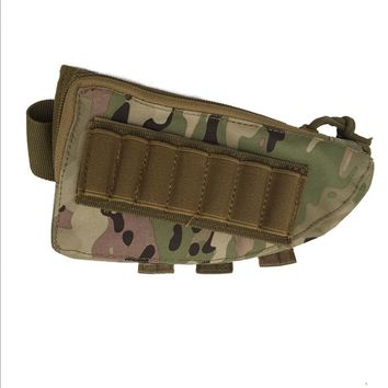 600D Rifle Stock Ammo Pouch with Cheek  Portable Military Airsoft Paintball CS War Game Leather Pad for Hunting Sports