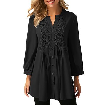 Black Lace and Pleated Detail Button up Blouse