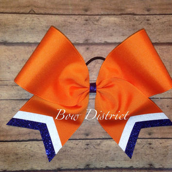 "3"" Orange Team Cheer Bow with White Glitter and Royal Blue Glitter Tail Stripes"