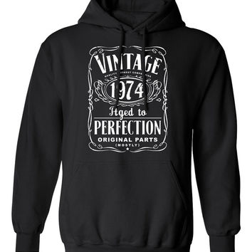 40th Birthday Gift For Men and Women - Vintage 1974 Aged To Perfection Mostly Original Parts Hoodie Hooded Sweatshirt Gift idea S-16h