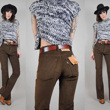 LEVI'S vtg 80's CORDUROY deadstock bell bottom flared pants High Waist coco brown Bootcut