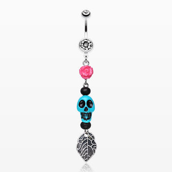 Colorful Rose Skull Leaf Dangle Belly Ring