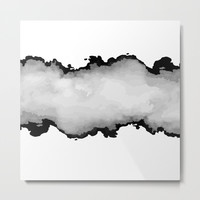 White Gray and Black Monochrome Graphic Cloud Effect Metal Print by 5mm Paper
