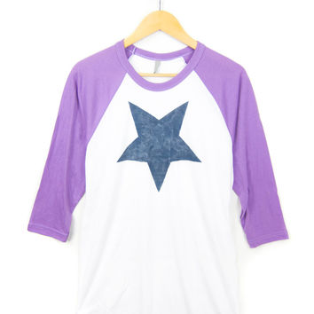 Star Hand STENCILED Deep Crew Neck 3/4 Sleeve Raglan Tee in Neon Heather Purple and White - Women's S M L XL 2XL