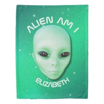 Alien Am I Green Funny Alien Face With Black Eyes Duvet Cover