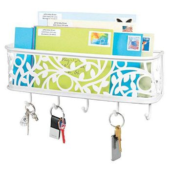 mDesign Mail Letter Holder Key Rack Organizer for Entryway Hallway Mudroom  Wall Mount Satin