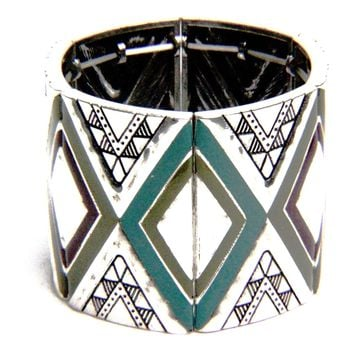Tribal Enamel Stretch Bangle Bracelet