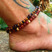 Wooden Beaded Anklet / Mens Ankle Bracelets / Unisex Stretchy Beaded Anklet / Hippie Boho Anklets / Manklet / 2 Wooden Beaded Anklets