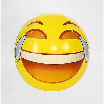 Laugh Face Emoji Beach Ball - 56 inch - Spencer's