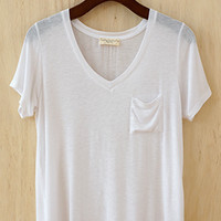 Perfectly Imperfect One-Pocket Shabby Tee, Ivory