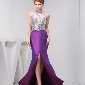 New dazzling sexy front taffeta slit long mermaid Prom Dress 2015 halter off shoulder plus size prom party Dress free shipping