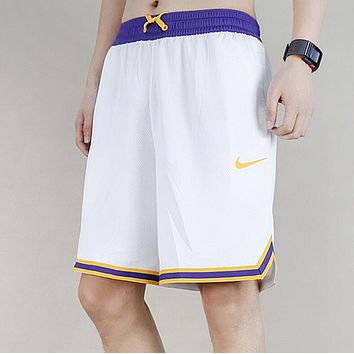 Nike New Stylish Basketball Breathable Mesh Shorts Contrast Colors Embroidery Logo Sport Shorts White I13444-1