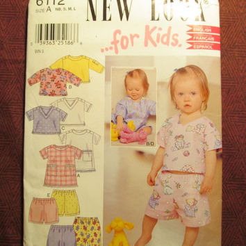 SALE Uncut Simplicity New Look Sewing Pattern, 6112! Newborn/Infant/Small/Medium/Large/Girls/T-Shirts/Short Sleeve Shirts/Pull on Pants/Shor