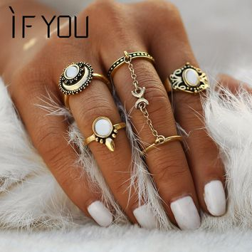 IF YOU 2017 5PCs/set Vintage Boho Steampunk Sun Moon Pattern Stone Midi Ring Sets for Women Finger Knuckle Link Chain Rings