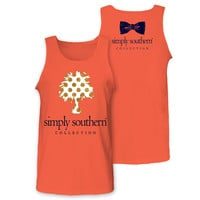 Simply Southern Collection Palm Dot Tree Glitter Girlie Bright  Tank Top