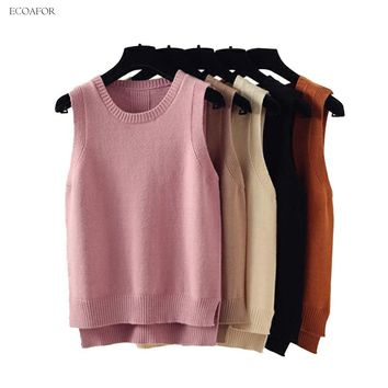 Sleeveless Vest Sweater Women Preppy Style Look Round Neck Side Vent Slit Knitted Vest Pullovers T Jumper Female Knit Sweater