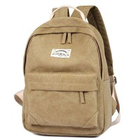 Simple Khaki Solid Pure Color School Bag College Canvas Backpack