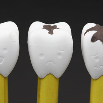 White Teeth Pencil Topper Erasers