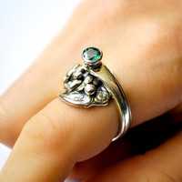 Green Topaz Ring, Recycled Silver Jewelry, Unique Sterling Silver Ring, Green Stone Ring, One of a Kind, Sustainable Jewelry