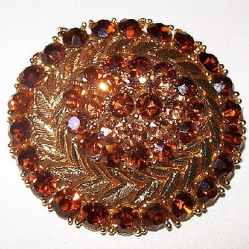 "Lisner Brooch Pin Topaz Rhinestones Designer Signed Domed Layered High Fashion Gold Leaf Design 2"" Vintage"
