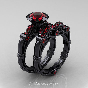Art Masters Caravaggio 14K Black Gold 1.0 Ct Ruby Engagement Ring Wedding Band Set R623S-14KBGR