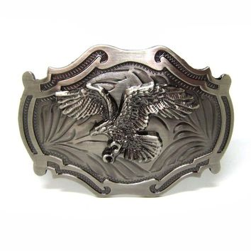 Flying Eagle Western Belt Buckle Gun Metal Brushed