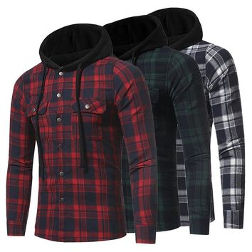 Men's Flannel Plaid Double Pockets Hooded Shirt Casual Leisure Checked Pattern Long-sleeved Shirt