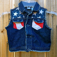 American Flag Babies Denim Vest - Memorial day/ July 4th