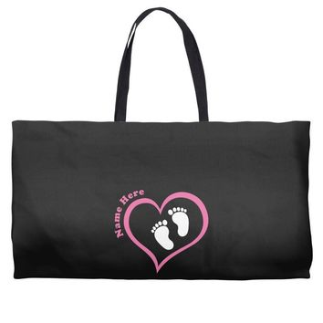 Custom baby girl name maternity design Weekender Totes