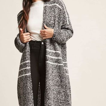 Striped Boucle Knit Duster Cardigan