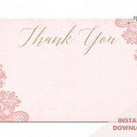 Pink and Gold Thank You Cards - Bridal Shower Thank You Cards - Gold Thank You Cards - Instant Download - Bridal Thank You Cards - Pink Lace