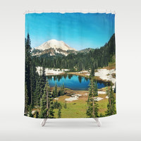 Lake reflections Shower Curtain by Sylvia Cook Photography