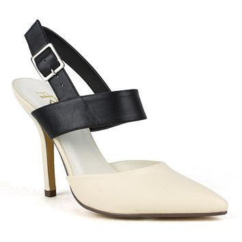 Womens Dress Shoes Pointed Toe Buckles Low Heel Shoes Nude