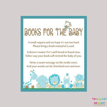 Boy Safari Baby Shower Bring a Book Instead of a Card Invitation Inserts - Instant Download - Blue Book Request Safari Baby Shower BS0001-B