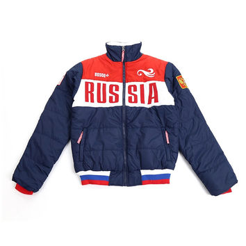 High quality Russian Olympic team bosco sports Men autumn winter cotton-padded jacket russia sport bike clothing coat brand