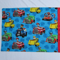 Blue Paw Patrol cotton pillowcase with red satin edge
