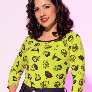 Pinup Couture Boatneck Top in Monster Print