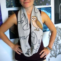 Harry Potter Infinity Scarf with spells and barn owl