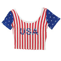 American Flag 'USA' Crop Top
