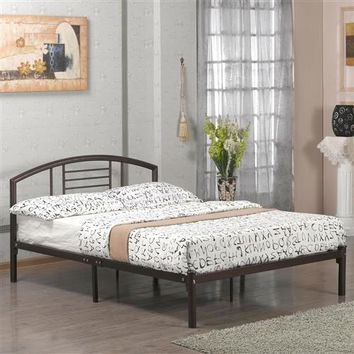 Twin Size Metal Platform Bed Frame with Headboard in Bronze Finish