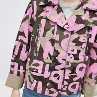 ASOS Camo Jacket With All Over Word Print at asos.com