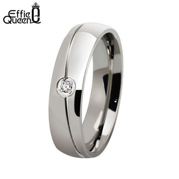 DALI High Quality Titanium Steel Ring Gyspy Setting Zircon Men Women Wedding Engagement Ring Stainless Steel WTR32