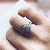 The Princess Labradorite & Diamond Stacking Ring Set