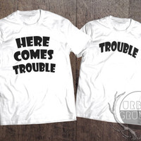 here comes trouble tshirt- the mindy project tshirt- unisex tshirt- here comes trouble-mindy kaling-funny tshirt-tshirt-the mindy project