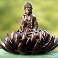 Artisan Crafted Wood Sculpture from Indonesia - Buddha on Lotus Blessing | NOVICA