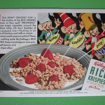 Vintage 1935 Rice Krispies Advertising Ink Blotter Kellogg's Cereal Ephemera to Frame or for Crafts Scrapbooking Great Image